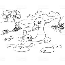 cartoon duck lake coloring page vector stock vector art 821275440