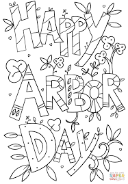 happy arbor day doodle coloring page free printable coloring pages