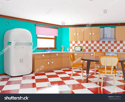 Turquoise And Orange Kitchen by Retro Kitchen Cartoon Style Checkered Floor Stock Illustration
