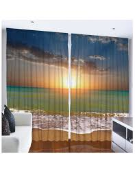 tropical beach sunset large window curtain set of two 54 x 90