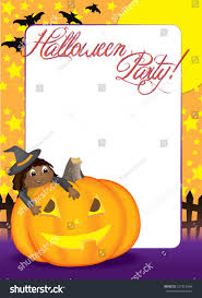 blank halloween party invitation or holiday flyer with a cute