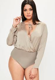 Plus Size Bodysuit Blouse Curve Brown Hammered Satin Plunge Bodysuit Missguided