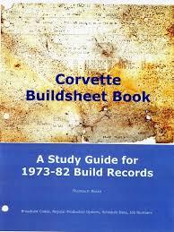 corvette build sheet buildsheet