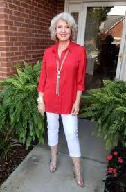 summer style capri white capri pants and red blouse with statement necklace summer