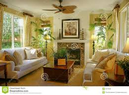 sunny yellow living room w fan royalty free stock photos image