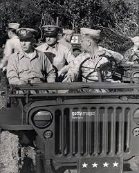 army generals ride in jeep pictures getty images