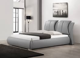 baxton studio malloy gray modern bed with upholstered headboard