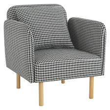 White Fabric Armchair By Product Seating Fino Black And White Dogtooth Fabric Armchair