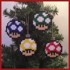 perler bead super mario christmas ornaments holiday geek