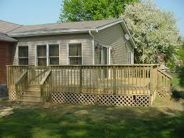 modern cream free standing wood deck design that can be decor with