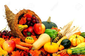 harvest cornucopia harvest cornucopia filled with assorted vegetables and fruit stock