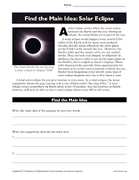 high main idea worksheet about solar eclipses solar