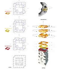 High Rise Residential Building Floor Plans by Som Chongqing River Tower