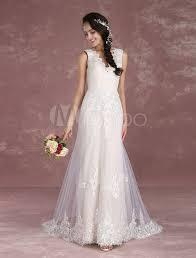 tissus robe de mariã e robe de mariée hobo plage jardin col v a ligne avec traîne sans