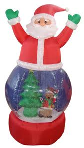 5 u0027 inflatable santa claus snow globe lighted christmas yard art