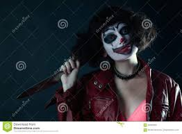 halloween clown background model with makeup scary clown with knife stock photo image 94025803