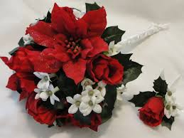 popular red and white wedding flowers with red rose bridal bouquet