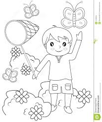 boy catching butterflies coloring page stock illustration image