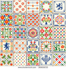 indigo blue flower azulejos pattern lisbon stock vector 331082201