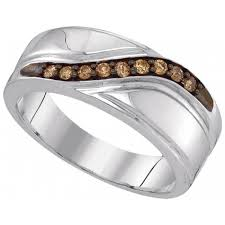 mens wedding band with diamonds mens wedding band ring 0 25ct w cognac diamond white gold finish