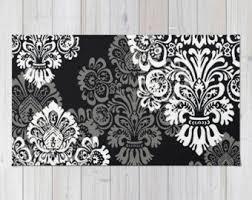 Black And White Floor Rug Bohemian Rug Etsy