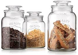 amazon com set of 3 clear glass canister jars with tight lids for