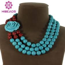 round turquoise necklace images Free shipping 3 rows round spong coral stone necklace stone beads jpg