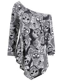 Plus Size Halloween Shirts by Plus Size Halloween Skulls Print Asymmetrical T Shirt Gray Xl In