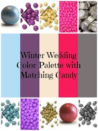 winter wedding color palette with matching candy buffet sweet