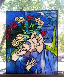 painting on glass windows hand made stained glass hanging panel