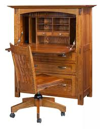Solid Oak Furniture Amish Computer Secretary Desk Armoire Modesto Solid Wood Furniture