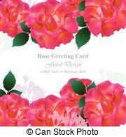 wedding invitation card pink red rose flowers wedding vector