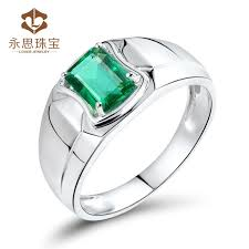 rings design for men gemstone men ring in 18k white gold emerald ring for men
