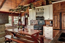 bright lamps rustic country kitchen curtains under low ceiling