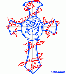 how to draw a rose and cross tattoo step by step tattoos pop