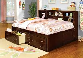 full size platform bed with storage and bookcase headboard twin