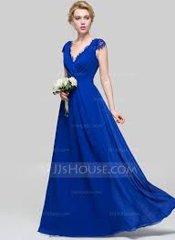 a line princess v neck floor length chiffon bridesmaid dress with