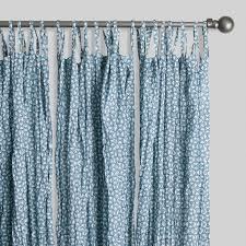 Tie Top Curtains Blue Geometric Print Crinkle Voile Tie Top Curtains Set Of 2