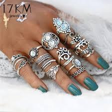 hand finger rings images Vintage hand knuckle opal finger ring set for women leaf flower jpg