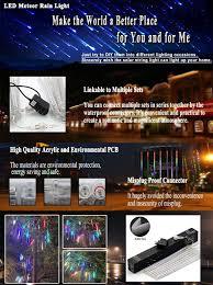 amazon com omgai upgraded led meteor shower rain lights drop