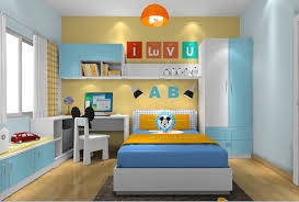 boy bedroom with corner desk and computer 3d house