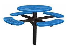 round picnic tables for sale 46 single post thermoplastic metal round picnic table inground