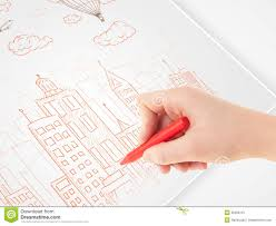cloud writing paper a person drawing sketch of a city with balloons and clouds royalty a person drawing sketch of a city with balloons and clouds royalty free stock photo