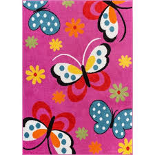 Pink Floral Rugs Woven Bright Kids Butterflies Pink Blue Green Yellow And