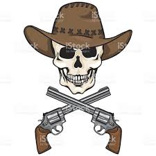 cowboy hat halloween vector character skull cowboy and crossed revolvers stock vector