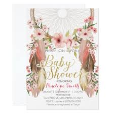 boho baby shower boho pink gold dreamcatcher baby shower invitation zazzle