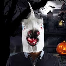 halloween costume prop funny unicorn head mask black white red