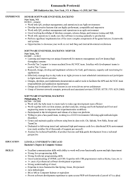 sle of resume software engineer backend resume sles velvet