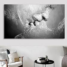 home decor black and white iumer wall decor black white love kiss abstract art on canvas