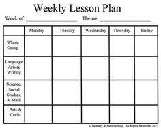 blank preschool weekly lesson plan template my printable